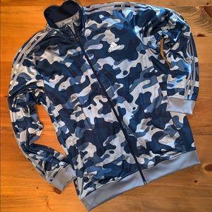 Unisex Adidas Blue Camo Athletic Jacket/Sweatshirt